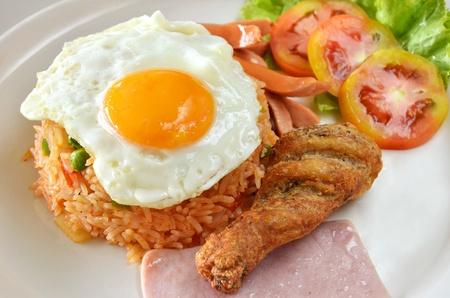 American style breakfast set, fried rice  photo