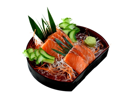 Fresh salmon sashimi  with vegetable Stock Photo