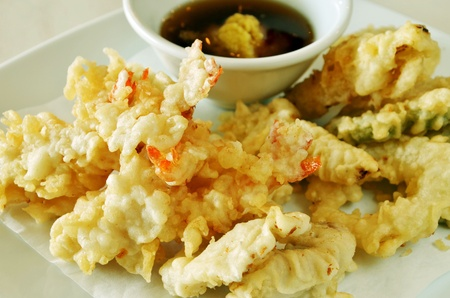 Japanese Cuisine - Deep Fried Shrimps with Vegetables photo