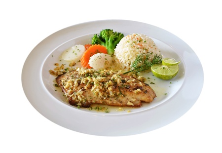 roasted fish served with fried rice  Banco de Imagens