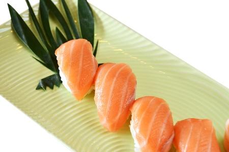 Traditional Japanese food , salmon sushi photo