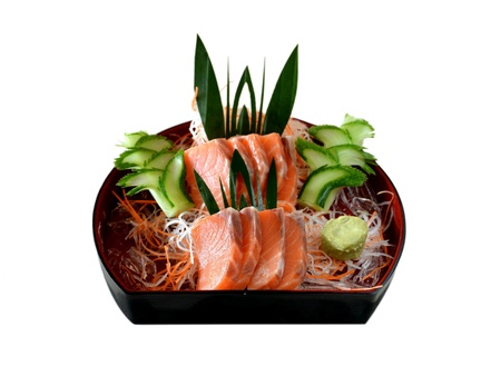 Fresh salmon sashimi  with vegetable photo