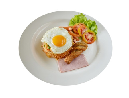 american cuisine: American style breakfast set, fried rice