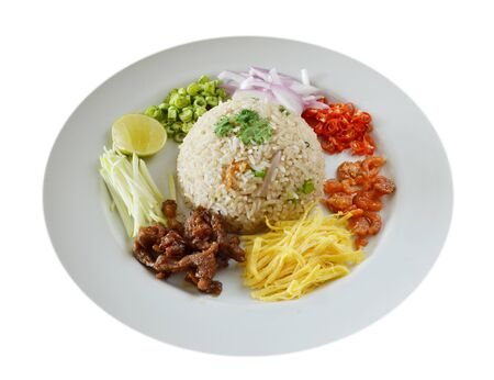 Thai food, Mixed cooked rice with shrimp paste sauce and fresh vegetable photo