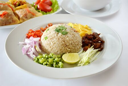 Thai food, Mixed cooked rice with shrimp paste sauce and fresh vegetable