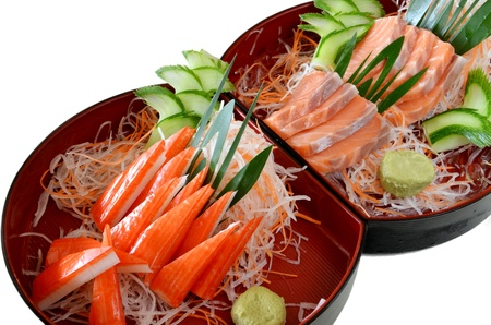 Japanese Cuisine ,Crabmeat sticks and salmon photo