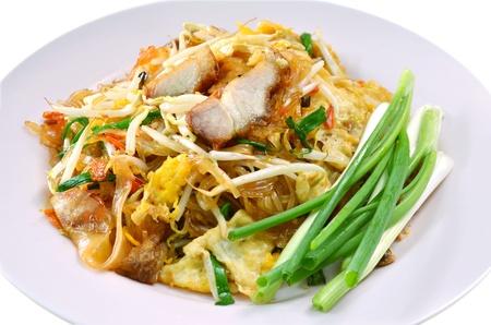 quick snack: Favorite Thai cuisine , Thai food Pad thai , Stir fry noodles with crispy pork Stock Photo