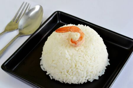 a delicious  prawn on steamed rice , waiting food Stock Photo - 11681962