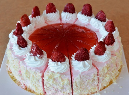 strawberry ice cream cake , Beautiful decorated fruit cake