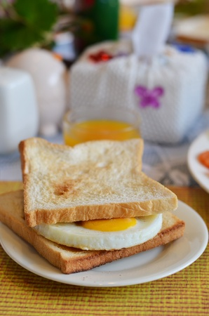 breakfast , fried egg sandwich on buttered toast photo