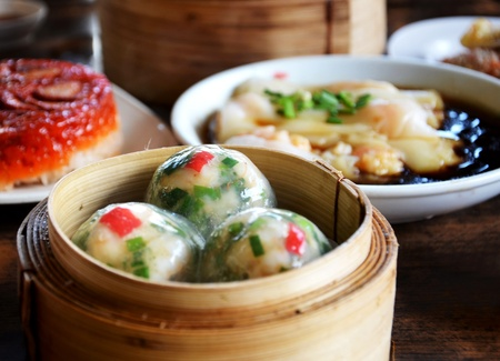 Steamed crystal chives dumplings :  dim sum Stock Photo