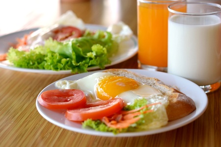 american style breakfast , with toast,  fried egg and fresh vegetables , milk and orange juice