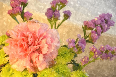 wash painting: summer flowers , watercolor painting Stock Photo