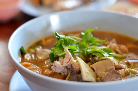 close-up of pork spare rib soup , hot and spicy food photo