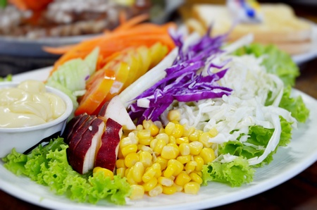 Fresh organic salad with cream sauce photo