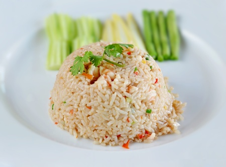 delicious food , prawns fried rice with chilli sauce