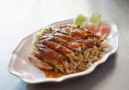 roast  duck over rice served with vegetable Stock Photo - 13063349