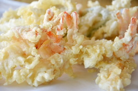 close-up of fried Shrimps , Tempura Japanese cuisine photo