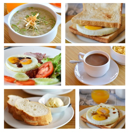 Collage from photographs of  breakfast cuisine Imagens