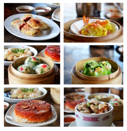 Collage from photographs of dim-sum   asian  food