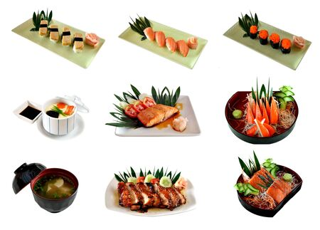 Collage from photographs of Japanese cuisine