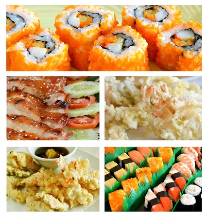 Collage from photographs of  Japanese food    photo