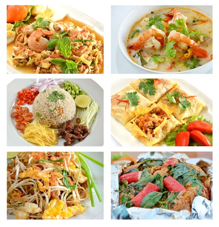 Collage from Photographs of Thai cuisine , background template for design work photo