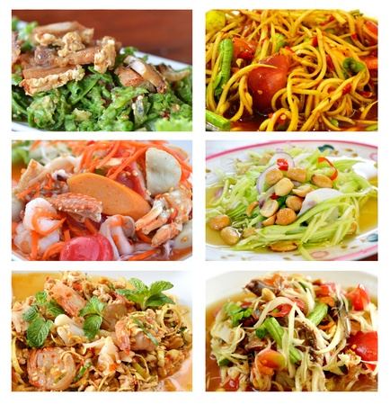 Collage from photographs of Thai spicy salad    background template for design work photo