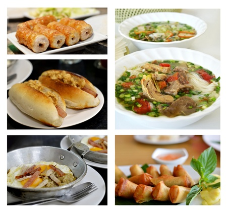 Collage from photographs of vietnamese cuisine