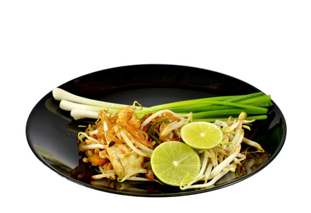 Favorite Thai cuisine , Thai food Pad thai , Stir fry noodles on black dish Stock Photo - 13270098