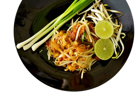 Favorite Thai cuisine , Thai food Pad thai , Stir fry noodles on black  dish photo