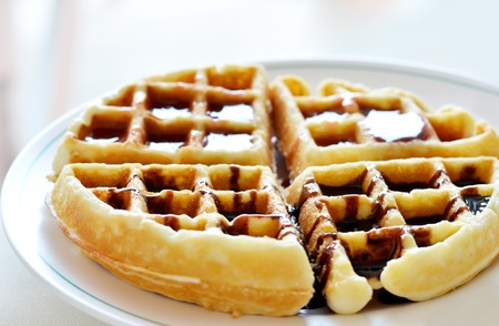 Waffle and chocolate sauce on dish photo