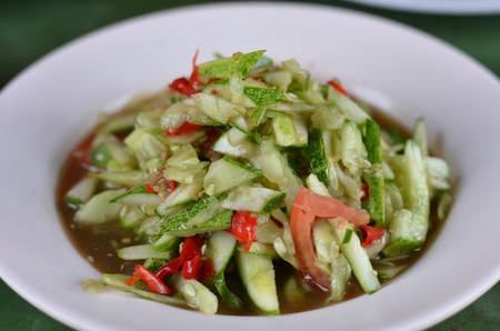 String bean spicy salad , thai spicy food photo
