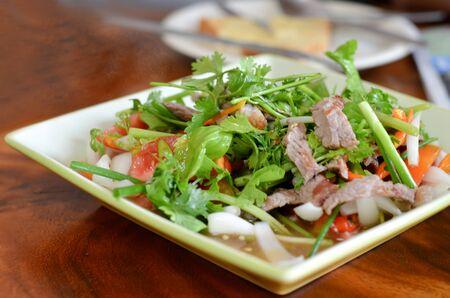 Ensalada picante de carne de res asada, comida estilo tailandés Foto de archivo - 13622244