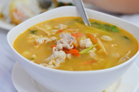 popular soup: chicken  soup , hot and spicy , favorite thai food