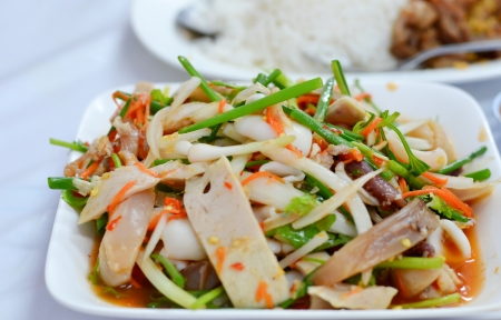 Mix seafood and sausage spicy salad  , Thai style cuisine photo