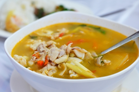 popular soup: chicken and prawn soup , hot and spicy  Tom Yum
