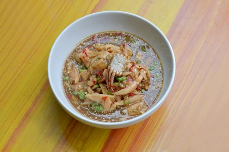 santol salad with steamed crab , Thai spicy food photo
