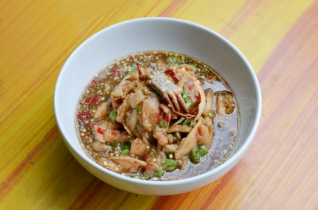 santol salad with steamed crab , spicy food   photo