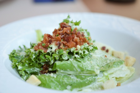 white bowl of caesar salad , fresh and delicious photo