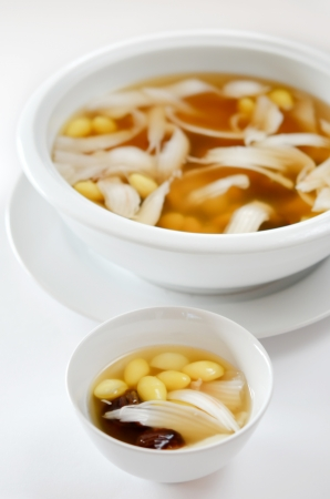favorite chinese dessert , delicious bean , coconut and herb in syrup photo