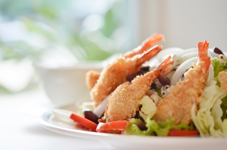 salad and fried shrimp photo