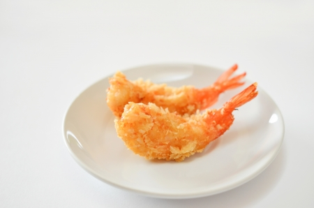deep fried shrimps on white dish  , Tempura Japanese style food  Stock Photo