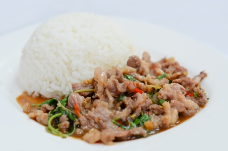 rice and   pork fried with chili pepper and  sweet basil served with spicy sauce