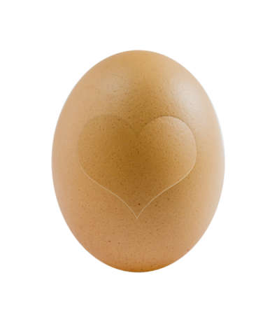 single brown egg with heart shape on white background Stock Photo - 14435580