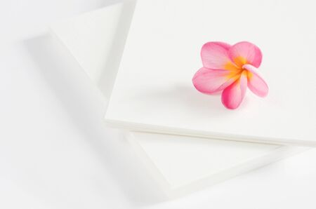 perfume frangipani flowers over white card photo