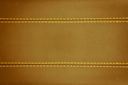 brown   horizontal stitched leather background  , art wallpaper Stock Photo - 14624542