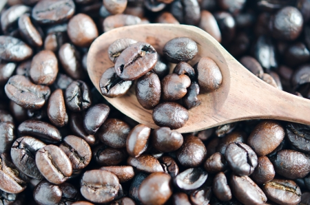 Close-up  of coffee beans and wooden spoon photo