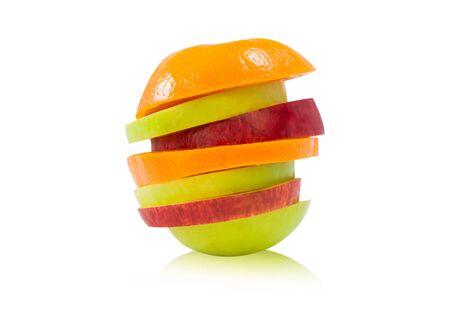 Fruta mezclada en la comida blanca, saludable photo