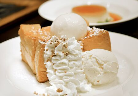 toast with ice cream and  whipping cream Stock Photo - 15975985